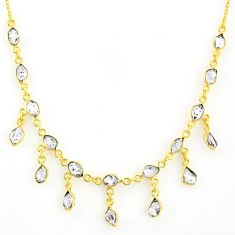 20.15cts natural white herkimer diamond fancy silver 14k gold necklace r64252