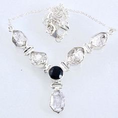 30.38cts natural white herkimer diamond onyx 925 sterling silver necklace r61186