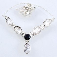 29.99cts natural white herkimer diamond onyx 925 sterling silver necklace r61187