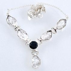 29.68cts natural white herkimer diamond onyx 925 sterling silver necklace r61189