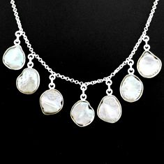 31.47cts natural white pearl 925 silver handmade necklace jewelry r71611
