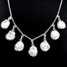 28.67cts natural white pearl 925 silver handmade necklace r71614