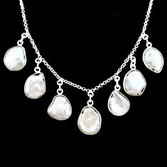 29.40cts natural white pearl 925 silver handmade necklace jewelry r71618