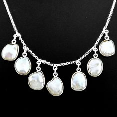 30.86cts natural white pearl 925 silver handmade necklace r71610