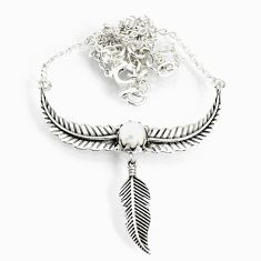 2.47cts natural white pearl 925 sterling silver dreamcatcher necklace r77786