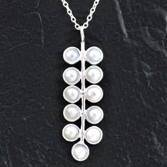 5.52cts natural white pearl 925 sterling silver necklace jewelry t4712