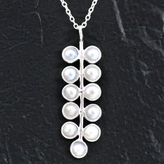5.54cts natural white pearl 925 sterling silver necklace jewelry t4714