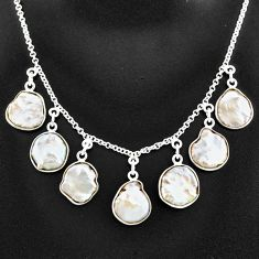 26.05cts natural white pearl 925 sterling silver necklace jewelry t7641