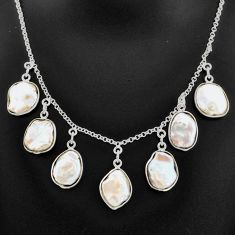 30.35cts natural white pearl 925 sterling silver necklace jewelry t7642
