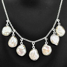 30.40cts natural white pearl 925 sterling silver necklace jewelry t7643