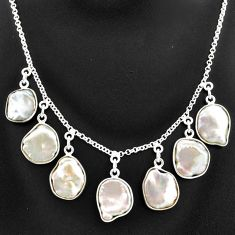 31.00cts natural white pearl 925 sterling silver necklace jewelry t7645