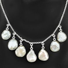 29.40cts natural white pearl 925 sterling silver necklace jewelry t7646