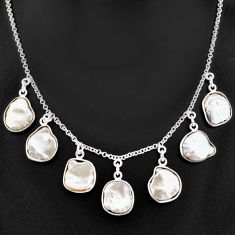 29.40cts natural white pearl 925 sterling silver necklace jewelry t7648