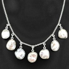 29.78cts natural white pearl 925 sterling silver necklace jewelry t7649