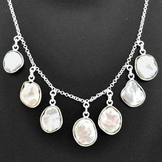 31.40cts natural white pearl 925 sterling silver necklace jewelry t7651