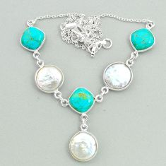 28.65cts natural white pearl arizona mohave turquoise 925 silver necklace t37269