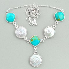 30.39cts natural white pearl arizona mohave turquoise 925 silver necklace t37272