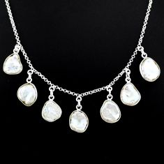 28.73cts natural white pearl fancy 925 silver handmade necklace r71613