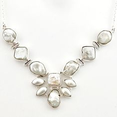 49.92cts natural white pearl fancy 925 sterling silver necklace jewelry r27561
