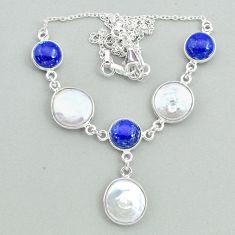 27.25cts natural white pearl lapis lazuli 925 sterling silver necklace t37275