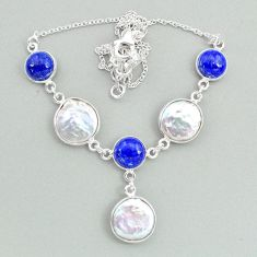 27.79cts natural white pearl lapis lazuli 925 sterling silver necklace t37277