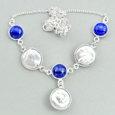 27.79cts natural white pearl lapis lazuli 925 sterling silver necklace t37278