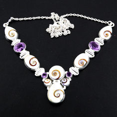 52.68cts natural white shiva eye amethyst 925 sterling silver necklace r56106