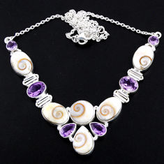 52.08cts natural white shiva eye amethyst 925 sterling silver necklace r56108