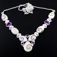 54.65cts natural white shiva eye amethyst 925 sterling silver necklace r56113