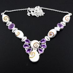 58.45cts natural white shiva eye amethyst 925 sterling silver necklace r56115