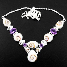 46.60cts natural white shiva eye amethyst 925 sterling silver necklace r58709