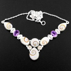 43.33cts natural white shiva eye amethyst 925 sterling silver necklace r58713