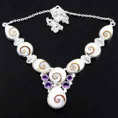 53.74cts natural white shiva eye purple amethyst 925 silver necklace r56107