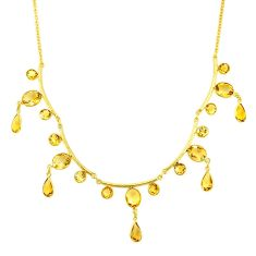 40.65cts natural yellow citrine 14k gold collector necklace r84879