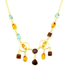 31.86cts natural yellow citrine red garnet 14k gold collector necklace r84880