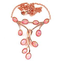 11.80cts pink australian opal (lab) 925 silver 14k gold necklace a62060 c24964