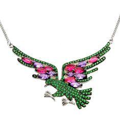 5.21cts purple amethyst quartz emerald (lab) silver eagle charm necklace c9897