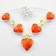 57.23cts red copper turquoise heart citrine 925 sterling silver necklace r52301