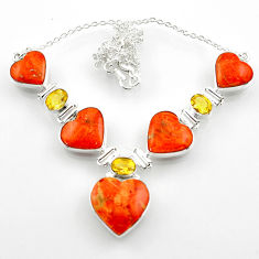 55.85cts red copper turquoise heart citrine 925 sterling silver necklace r52302