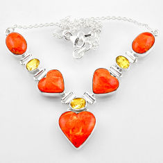 53.64cts red copper turquoise heart citrine 925 sterling silver necklace r52306