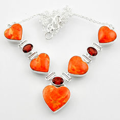 54.65cts red copper turquoise heart garnet 925 sterling silver necklace r52303
