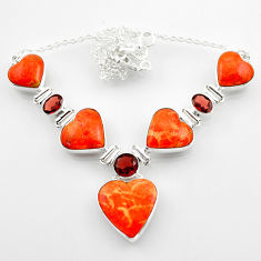 36.52cts red copper turquoise heart red garnet 925 silver necklace r52307