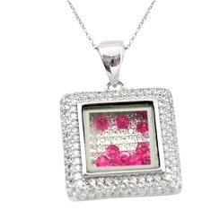 Red ruby quartz cubic zirconia 925 silver moving stone necklace c22275