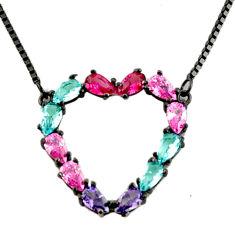 5.95cts rhodium purple amethyst quartz ruby (lab) 925 silver necklace c9749