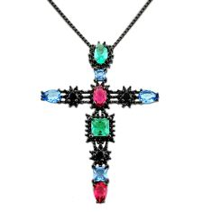 6.53cts rhodium red ruby (lab) emerald (lab) 925 silver cross necklace c9890