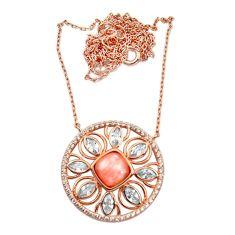 7.04cts rose gold natural pink opal topaz silver 14k rose gold necklace c26695