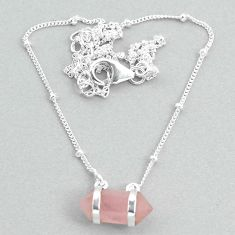 4.67cts rose quartz 925 silver healing double pointer necklace t34067