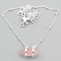 5.11cts rose quartz sterling silver healing double pointer necklace t34089