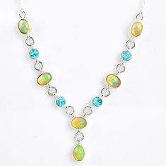 Silver 14.21cts natural multi color ethiopian opal blue topaz necklace r59497
