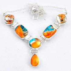 29.81cts spiny oyster arizona turquoise 925 sterling silver necklace r56072